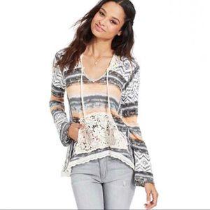 American Rag Crochet Trim Hoodie Sweater